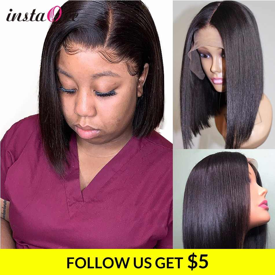 Instaone 8-24Inch Lace Front Human Hair Wigs Straight Brazilian 4x4 Bob Short Closure Wigs For Black Women Virgin Hair Extension