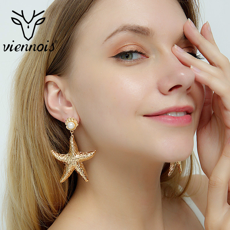 Viennois Golden Alloy Shell Pearl Earrings Exaggeration Starfish Dangle Earring For Women