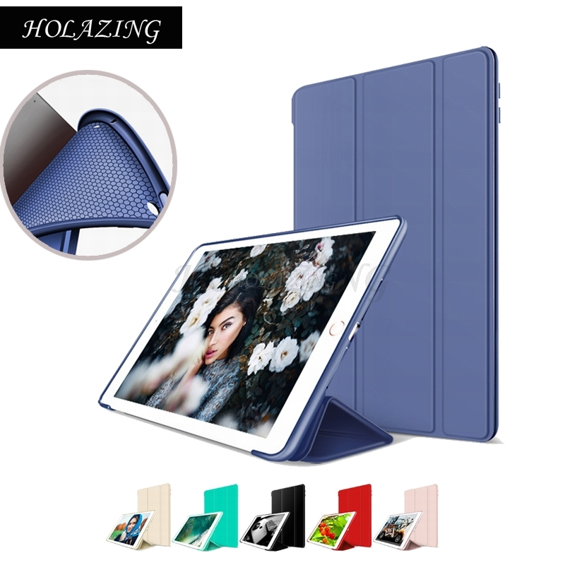 New Luxury Inner Mesh Breathable Radiate Soft Silicone Cover for iPad 9.7 2017 Magnet Smart Wake up Sleep Tri-fold Stand Case