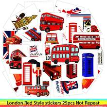 25Pcs/Lot Waterproof London Red Bus Telephone Booth PVC Stickers For Laptop Motorcycle Skateboard Luggage Decal Toy Sticker(China)