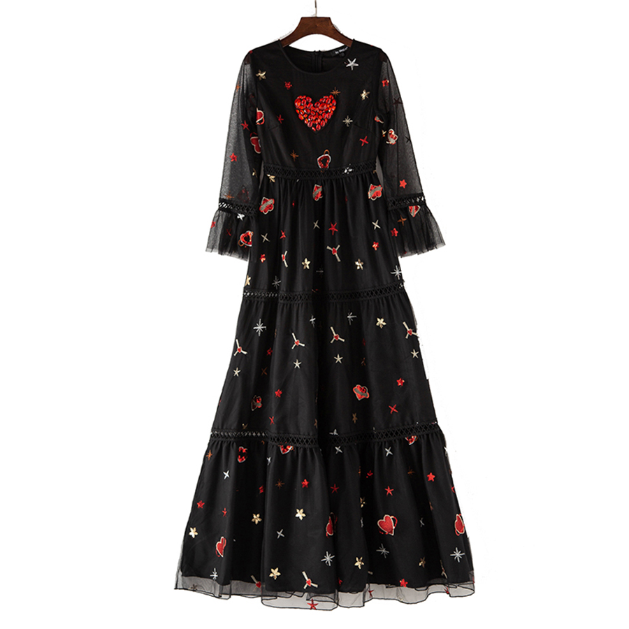 Manches Perles Robe Évider De Étoiles Coeur Luxe Robes Broderie Mode Aeleseen Flare Femmes Plein Longues Automne 2018 vCPWaqO