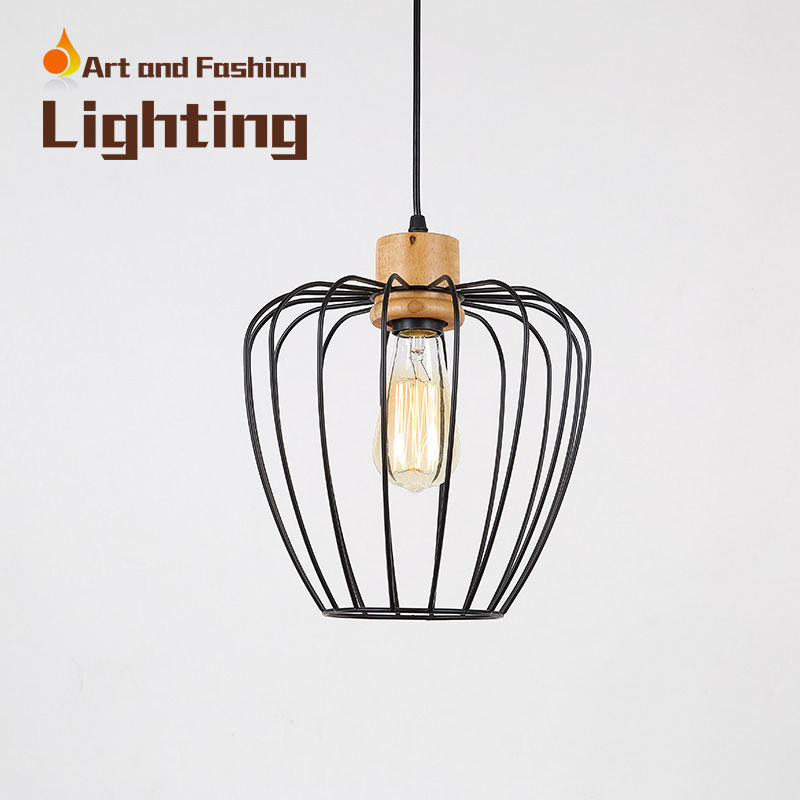 Nordic simplicity light American creative lights for restaurant cafe bar Personality single-head iron wood pendant lampCY-DD-234 classical chinese food industry restaurant bar cafe original wood single head pendant lights rmy 0247