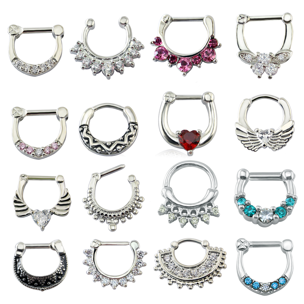 AOEDEJ Nose-Rings Clicker Mustache Clip-On Body-Jewelry Septum Piercing Crystal Septo