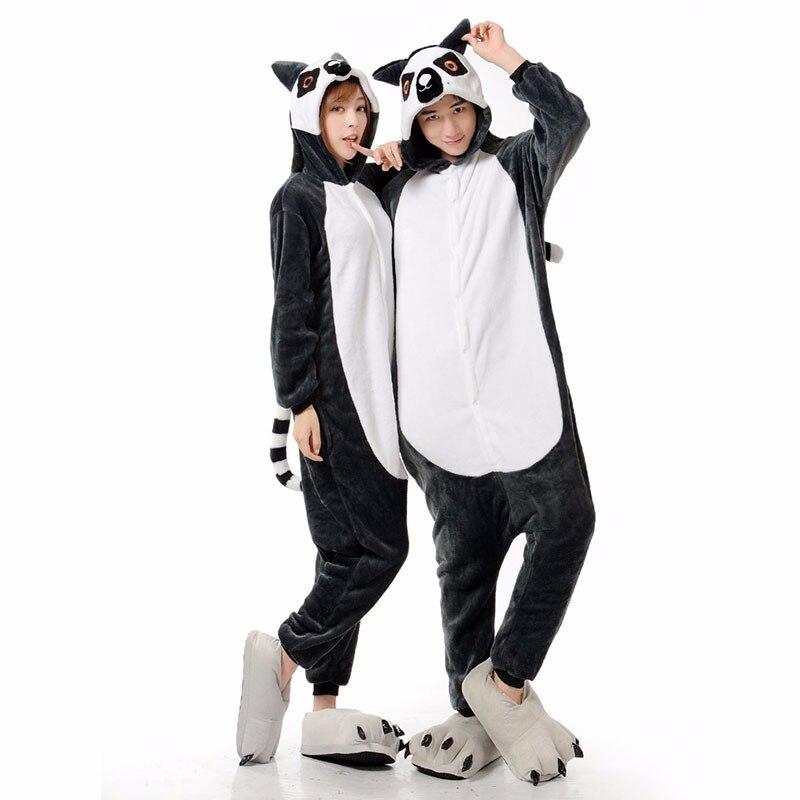 New Animal Onesies kingurumi Lemur Pajamas Women/Men Long Tail Monkey Flannel Winter Pajama Halloween Christmas Costume