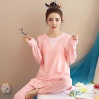 Women Clothes for Summer Pajamas Sets O Neck Sleepwear Pijamas Long Sleeve Cotton Sexy Pyjamas Female