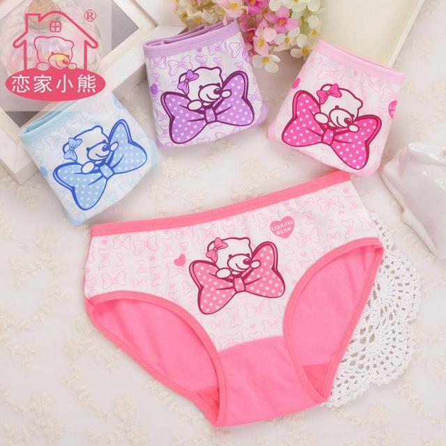 4pcs/lot Cartoon  Panties Cotton Short Pants Cartoon Panties Girls' Underwear  suit2-years