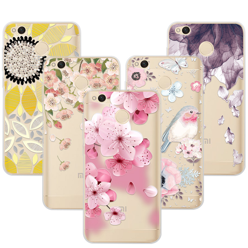 3D Relief Phone Case Cover For Xiaomi Redmi 4x 4 x 5.0 inch Floral Cartoon Lace Soft TPU Coque Fudna For Redmi4x red mi 4x Cases