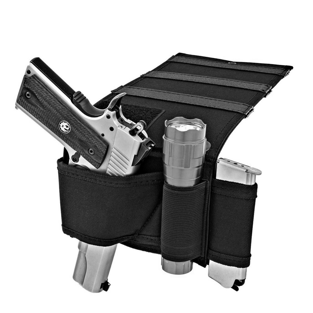 매트리스 침대 시트 아래에 전술 조정 가능한 침대 옆 소파 권총 총 집게 홀더 손전등 루프 잡지와 유니버설