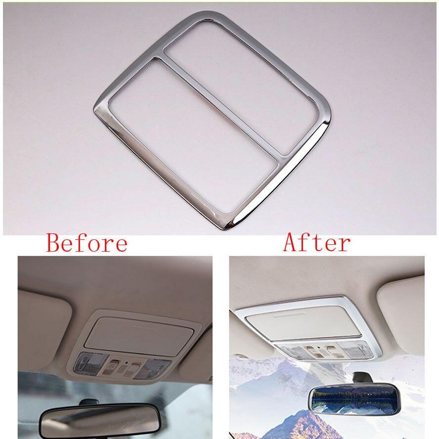 BBQ@FUKA Fit For Honda CRV CR-V Auto Car Chrome ABS Interior Front Reading Light Lamp Cover Frame Trim Styling Sticker