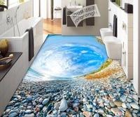 Waterproof wallpaper for bathrooms 3d PVC wallpaper pebble beach sky custom floor wallpaper 3d for bathrooms