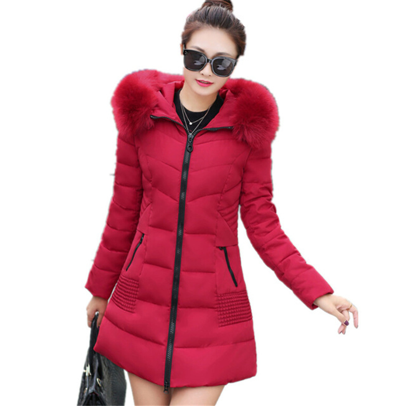 2017 New Winter Women Fashion Large Fur Collar Hooded Cotton Padded Parkas Jacke Solid Slim Plus Size Female Coat High QualiW052 2015 new women s fur collar thicken winter coats fashion ladies plus size padded cotton jackets female slim parkas h4435