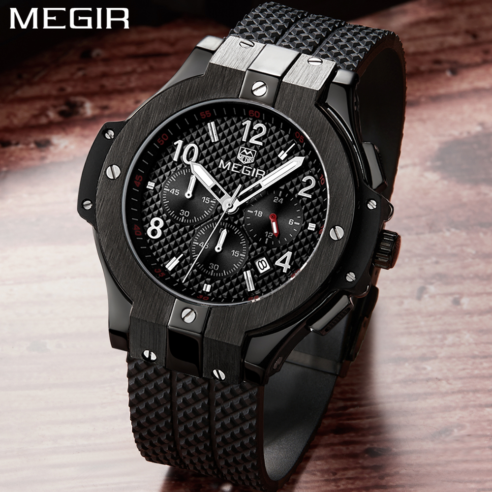 Megir Men Watches Top Brand Luxury silicone Quartz Watch Men Army Military Sport Quartz-watch Gold clock male Relogio Masculino megir men sport watch waterproof chronograph silicone strap quartz army military watches clock luxury male relogio masculino