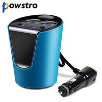 POWSTRO 3 1A 12V 24V Dual USB Car Charger 2 Cigarette Lighter Power Adapter Socket Splitter