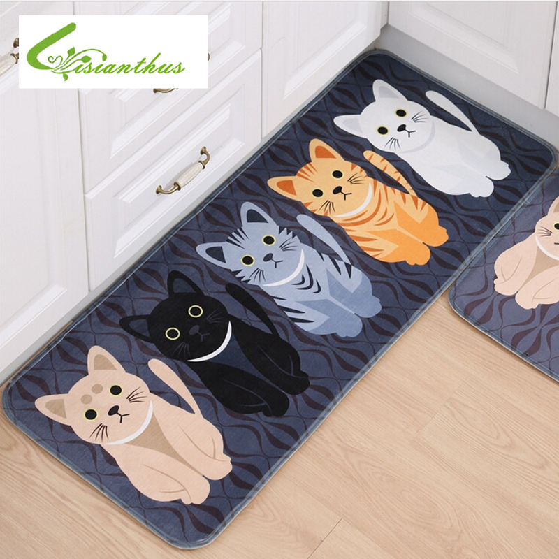 Kawaii Welcome Floor Mats Animal Cat Printed Bathroom Kitchen Carpets Doormats Cat Floor Mat for Livingroom Anti-Slip Tapete Rug