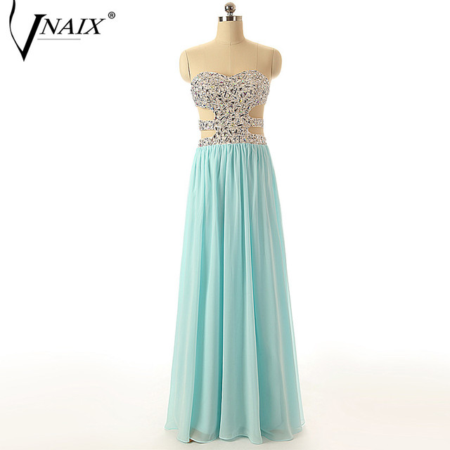 Vnaix E1110 Sexy Crystal Beaded Evening Dress Mint Green A Line Women Special Occasion Dress