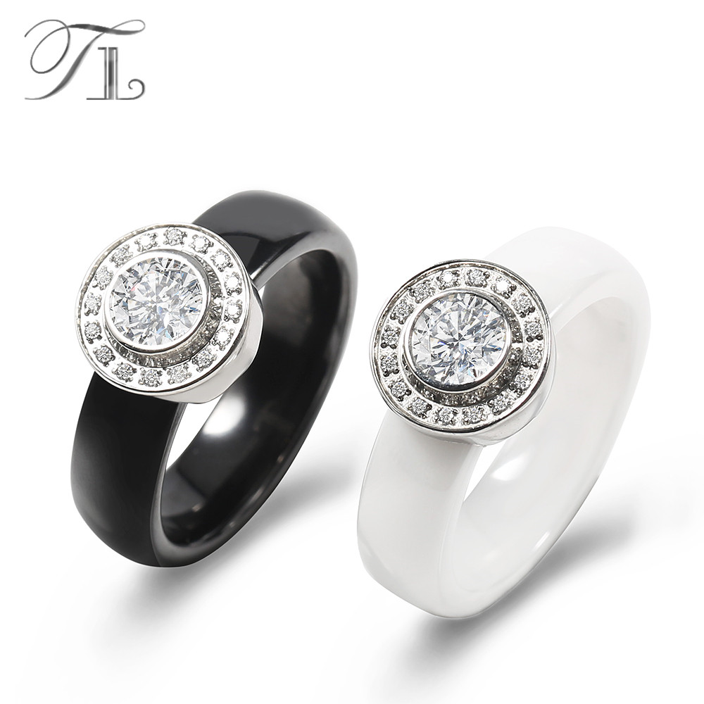TL Jewelry Black&White Ceramic Wedding Ring Unique Design Inlaid Huge Zircon Delicate Cabochon Smooth Engagement Rings For Women