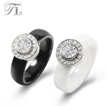TL Jewelry Black White Ceramic Wedding Ring Unique Design Inlaid Huge Zircon