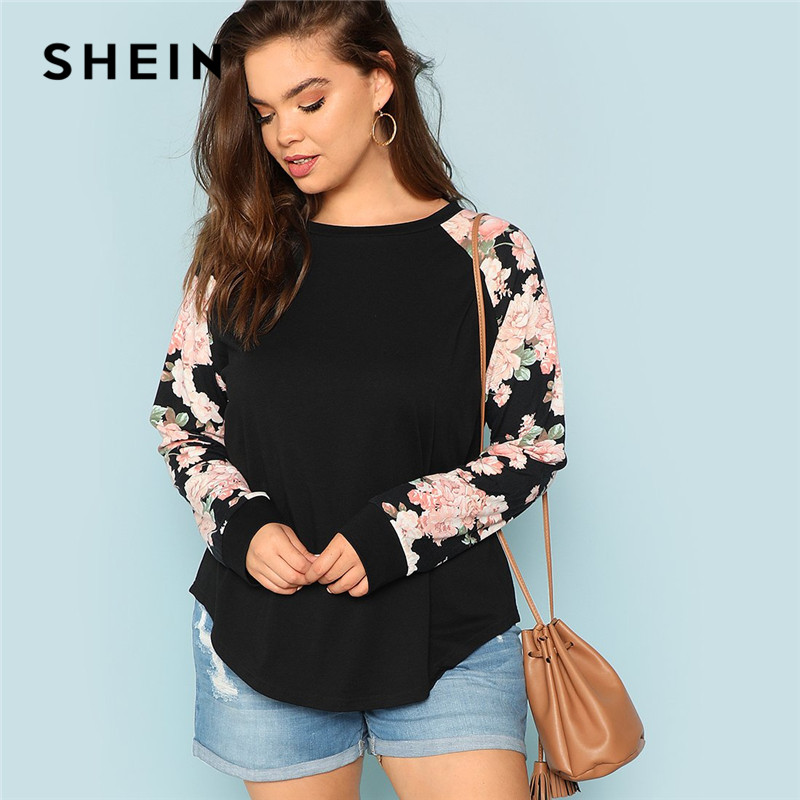Shein Floral Print Raglan Sleeve Informal Plus Measurement Black Womens High Tees 2018 Autumn New Spherical Neck Lengthy Sleeve Workwear T Shirt