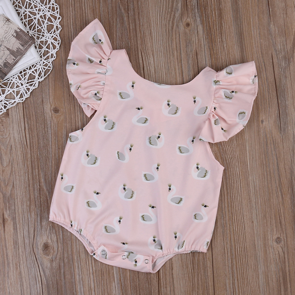 Infant Swan Print Bodysuit Baby Girls Puff Sleeve Jumpsuit Clothes Toddler Kids Summer Sunsuit Cotton Bodysuit for Girl Baby