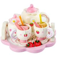 Kids Girls Simulate Wooden Pink Tea Set Play House Educational Toy