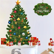 купить Merry Christmas Tree Bells Gifts Wall Stickers For Kids Rooms Window Decor Cartoon Happy New Year Wall Decals Mural Art Posters по цене 308.72 рублей