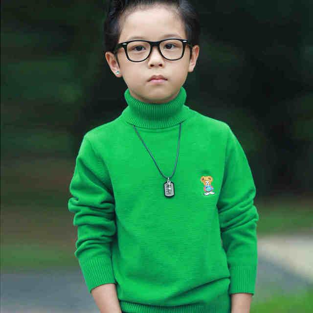 2016 roupas de outono das crianças causal sólida engrossar menino blusas de malha pulôveres de gola alta de algodão para meninos crianças outerwears
