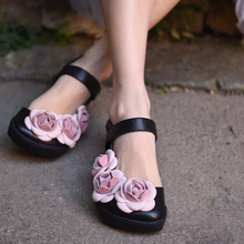 Artmu Original Summer New Vintage Flower Cowhide Shoes Flat Handmade Sweet Sandals Comfortable Women's Shoes 86787L цены онлайн