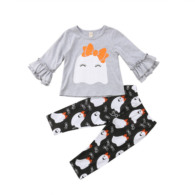 9fe91444a € 5.4 25% de DESCUENTO|Halloween niños bebé Niñas Ropa conjunto otoño manga  larga gris fantasma cuello redondo Camiseta Top pantalones trajes ...