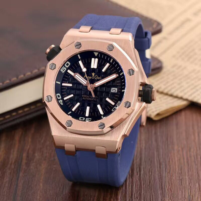 Men Stainless Steel Automatic Mechanical Watch Diver Sapphire Sport Watches Black Rubber Rose Gold Silver