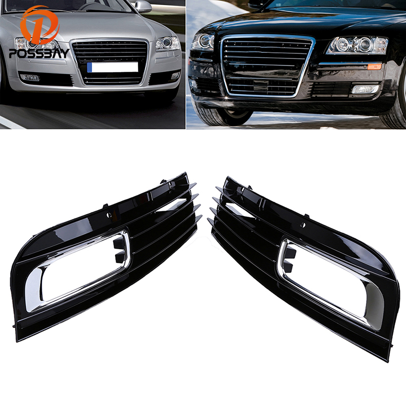 POSSBAY Left Right Side Front Bumper Grilles for <font><b>Audi</b></font> <font><b>A8</b></font> D3 2007 2008 2009 2010 facelift Black Fog Light <font><b>Hood</b></font> Cover Grills image