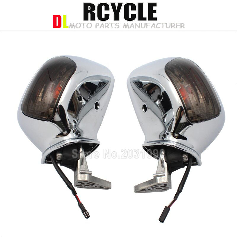 Motorcycle Rearview Mirrors LED Turn Signals For Honda Goldwing GL1800 2001 2011