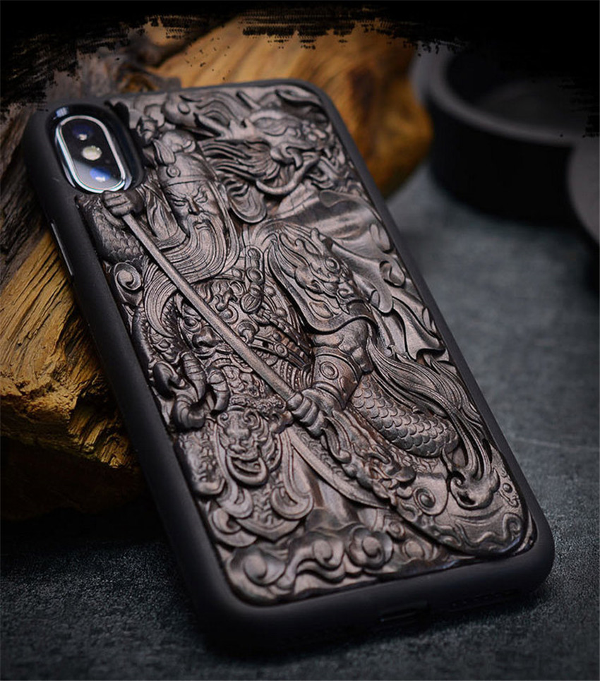 Case For iPhone XR X XS Max ebony Black wood 3D Stereo Emboss Carved Wooden TPU Back Cover Case For iPhone 6 6s 7 8 plus (3)