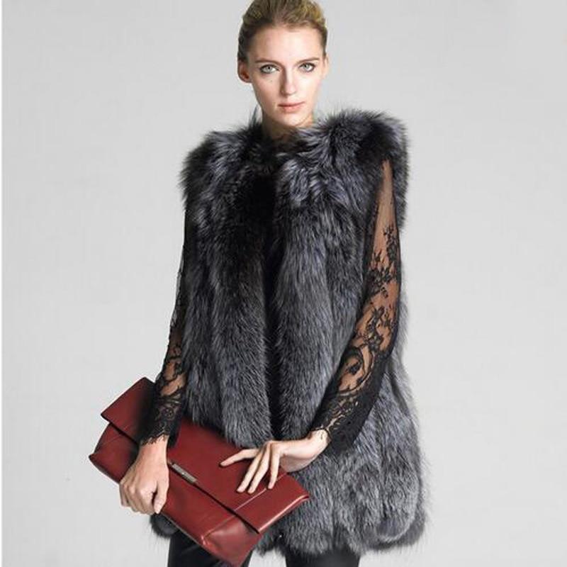 Colore Inverno Donne Gilet Abrigos Visone Volpe Femminile Faux Furry Di Lunga Pelliccia Grigio Slim Moda 2017 Mujer qwpaq01H
