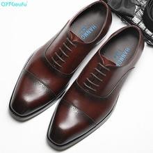 QYFCIOUFU New Handmade Mens Oxford Shoes high quality Genuine Calf Leather Wedding Shoe Male Formal Office dress shoes