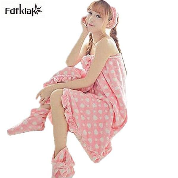 Womens cute pink nightgown robe polka dot flannel fleece bathrobe women three pieces spring autumn bath robes nightwear Q897