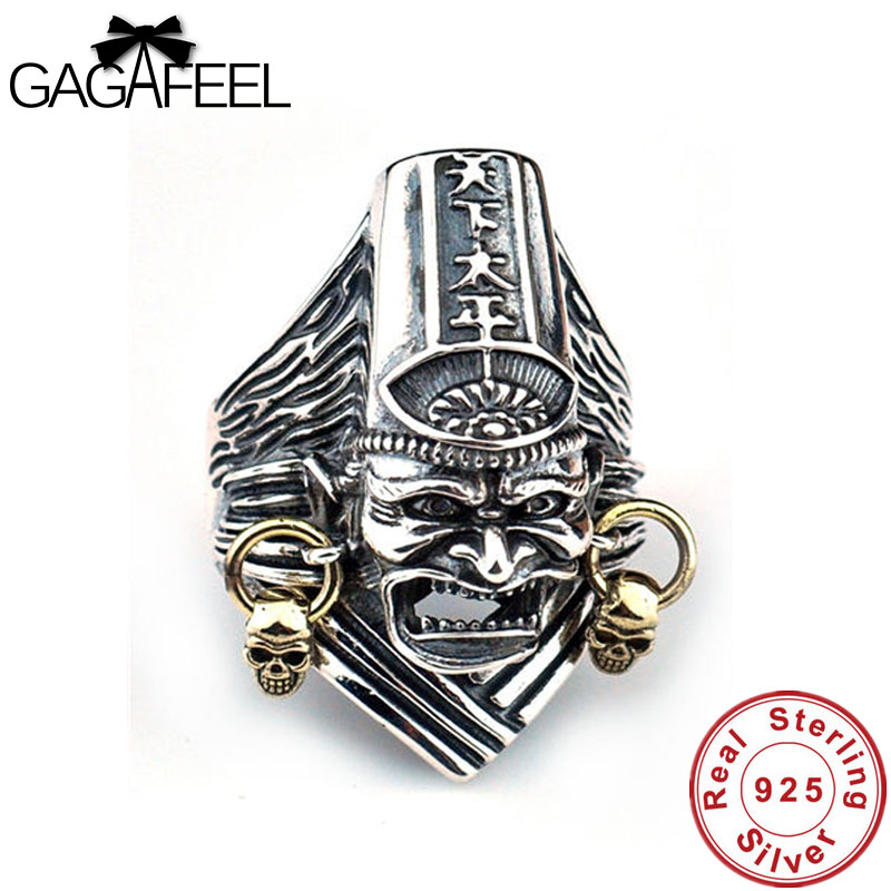 GAGAFEEL Vintage 925 Sterling Silver Black & White Impermanence Open Rings for Men Retro Thai Silver Adjustable Finger Male Ring цены онлайн
