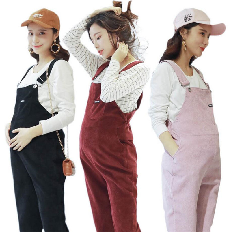 Women Pregnant Maternity Casual Cotton Trouser Suspender Overalls Bib Trouser Spring Autumn Maternity Clothing Pants Jumpsuit