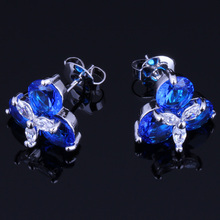 Shining Blue Cubic Zirconia White CZ 925 Sterling Silver Stud Earrings For Women V0175 valuable round green cubic zirconia white cz 925 sterling silver stud earrings for women v0195