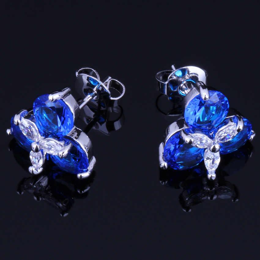Shining Blue Cubic Zirconia White CZ 925 Sterling Silver Stud Earrings For Women V0175