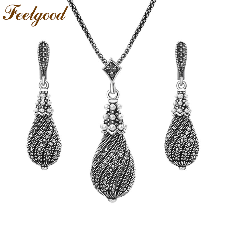 Feelgood Individuality Silver Color Vintage Jewelry Set Full Black Rhinestone Paved Water Drop Earrings And Necklace Sets a suit of vintage rhinestone leaf necklace and earrings for women