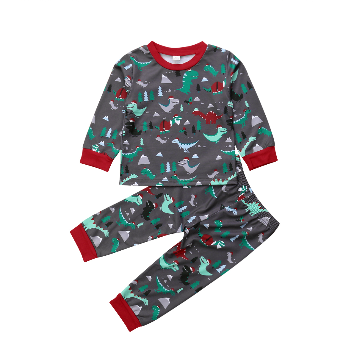 Kids Baby Girl Boy Christmas Dinosaur Tops T shirt Pants Leggings Outfit Clothes   Pajamas     Set