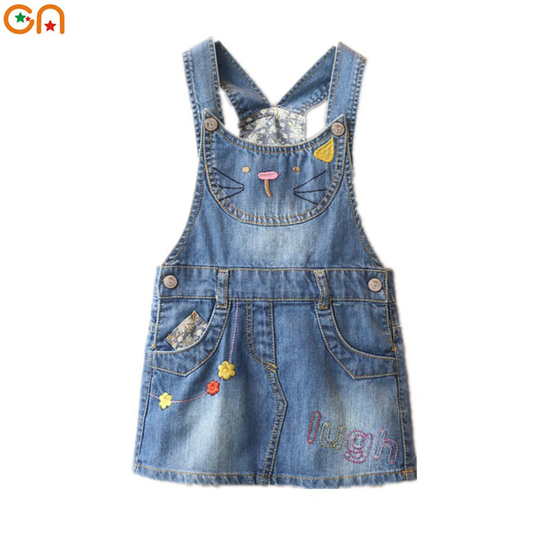 2-7 yrs Summer New Denim Sundress Girls Cute Fashion Kitty embroidery Flowers Styles cowboy strap Dress Sleeveless baby Kids CN shuzhi summer baby girls dress denim sundress girls suspender denim dresses kids cute rabbit embroidery sundress
