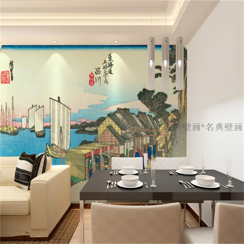 Japanese custom 3D wallpaper mural 3D wallpaper Japanese sushi restaurant landscape murals Fu Yue Thirty-six Views of Ukiyo-e цена 2017
