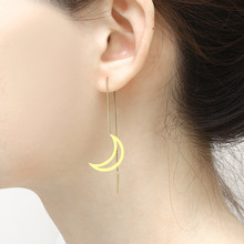 stainless steel jewerly moon women kpop small long gold stud earrings accessories jewellery korean fashion ladies brincos earing(China)