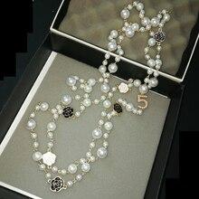 362450447538 Nuevo estilo joyería famoso collar flores tiempo simulado-perla collar  collier femme perle collar collares largos de las mujeres
