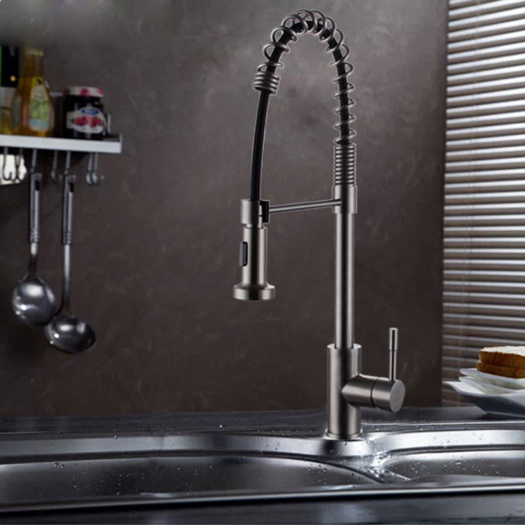 Multi function stainless steel kitchen faucet SUS304 stainless steel pull kitchen faucet stainless steel spring faucet цена и фото