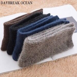 Image 5 - 4 Pair High Quality Super Soft Angora Cashmere Rabbit Wool Socks Thick Warm Merino Men Socks 2018 Big Size Winter Socks For Men
