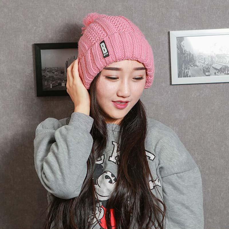 South Korean Version Knitting Caps B Standard Hat For Women Winter Plus Velvet Warm Earmuffs Lady Bonnet   Skullies     Beanies   8495