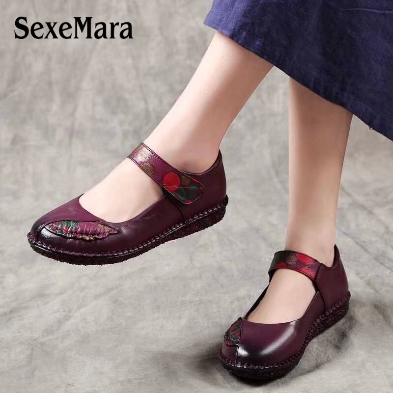 SexeMara spring women Genuine Leather Flats shoes Comfortable Breathable soft retro Black Red Purple ladies Shoes size 35-41 aiyuqi spring new genuine leather women shoes rhinestone breathable plus size 41 42 43 comfortable light mother shoes women