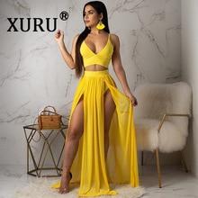 XURU Summer Sexy Chiffon Sling Dress Two-Piece Bohemian Beach Yellow Black Rose